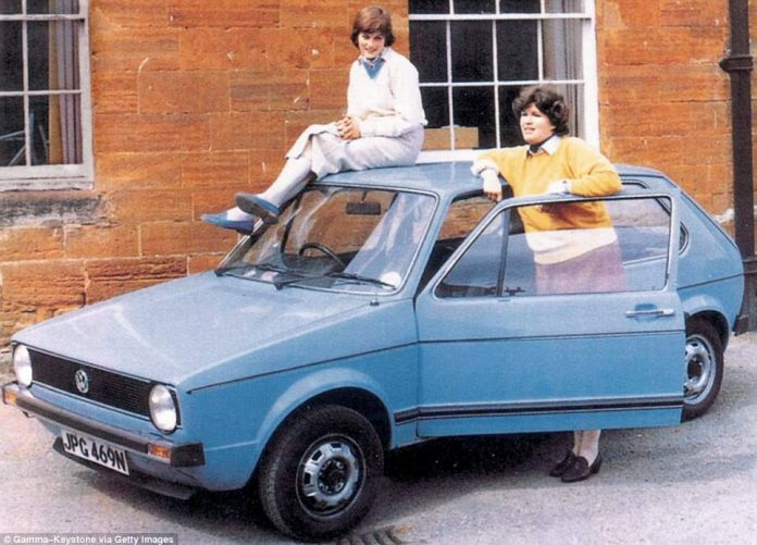 With her flatmate Virginia Pitman and her prized Volkswagen Golf, which Diana acquired in 1979. She switched to a red Mini Metro after the Golf was hit by a Mini in a rush hour accident in 1980. Diana was unhurt