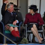 1 Front row seats not good enough Prince Charles and Princess Anne chatted before Charles put his hands to his eyes like binoculars