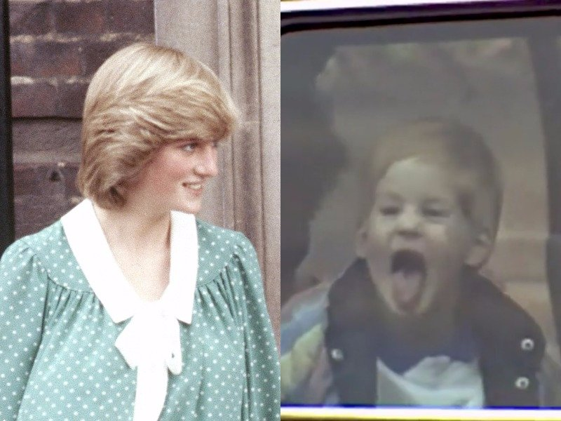 A young Prince Harry sticks out his tongue at photographers. Hulu Photo (C) AP