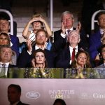 Also in the box was Governor General of Canada David Johnston second row next to Prince Harry and his wife Sharon second row far right