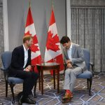 As the press were summoned out Harry put aside his airs and graces and leaned in to whisper Trudeau a joke which made him loudly splutter with laughter
