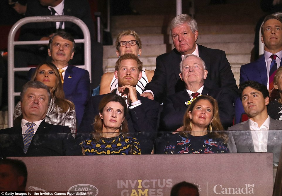 At one stage in the ceremony, the US First Lady was wide-eyed as she watched along with the rest of the guests in the box
