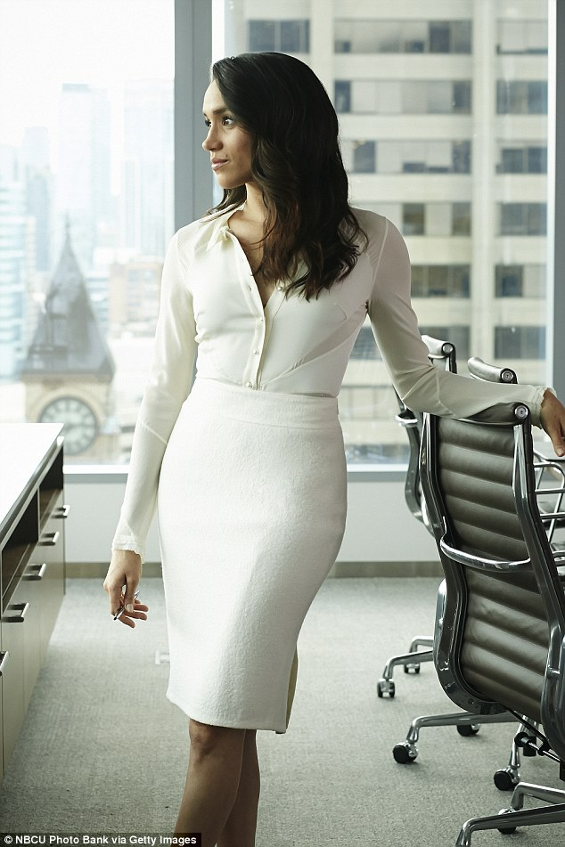 David predicted that Meghan's wedding dress will be form-fitting, similar to the costumes she wears in Suits (pictured)