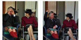 Duke of Edinburgh and Queen lead royal party at Braemar Gathering as Charles larks around on an invisible motorbike