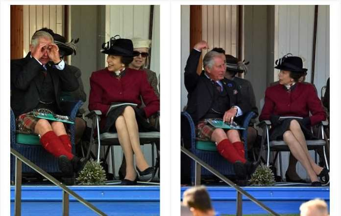 Front row seats not good enough Prince Charles and Princess Anne chatted before Charles put his hands to his eyes like binoculars Photo (C) ALAN DAVIDSON, SILVERHUB