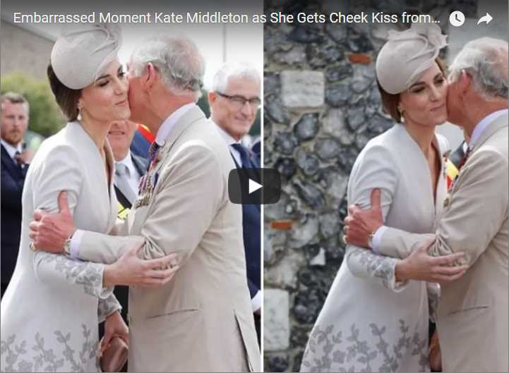 Embarrassed Moment Kate Middleton as She Gets Cheek Kiss from Prince Charles at Passchendaele