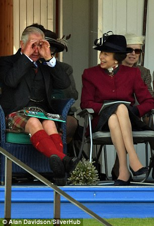 The Queen centre was joined by Prince Philip left and Prince Charles right at the Braemar Gathering in Scotland