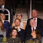 Instead of his girlfriend Harry had First Lady Melania Trump seated next to him in the royal box. They sat behind Ukrainian President Petro Poroshenko