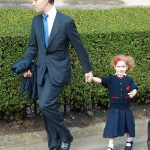 Maud Windsor arrived for her first day at school with father Lord Frederick Windsor Photo C GETTY IMAGES