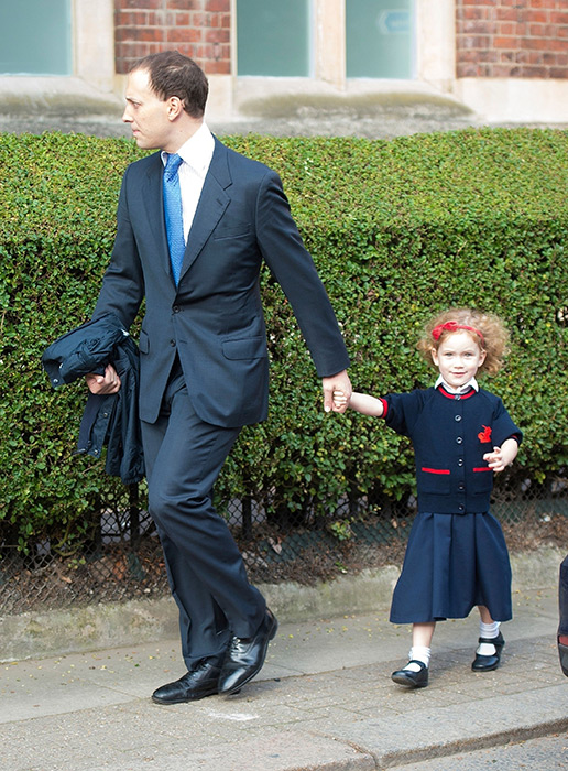Maud Windsor arrived for her first day at school with father Lord Frederick Windsor Photo (C) GETTY IMAGES