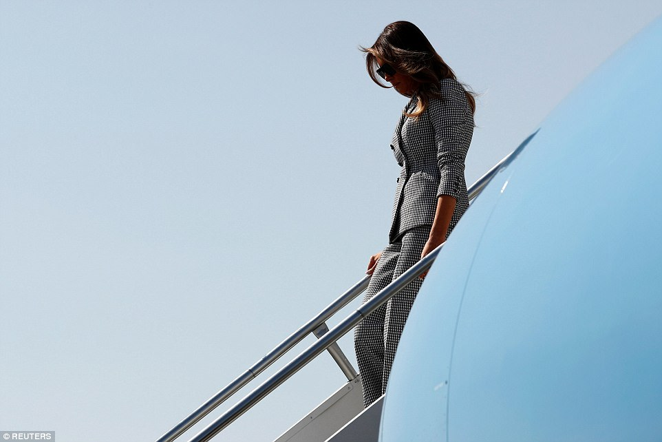 Melania (pictured, arriving in Toronto) touched down at Toronto Pearson International Airport on Saturday morning