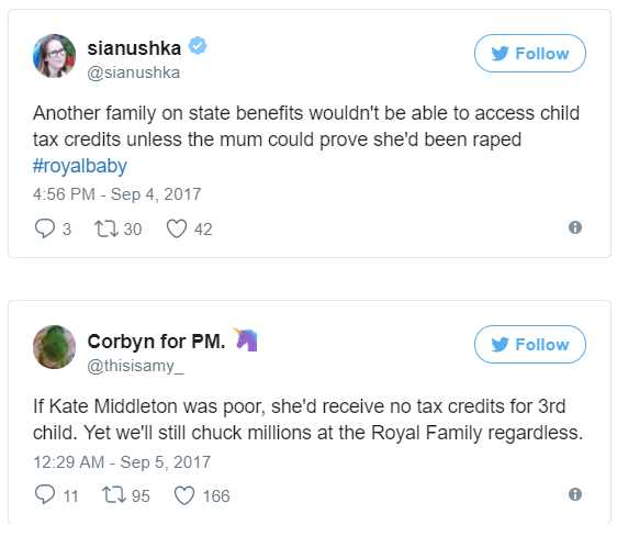 Congratulates royals on a third child stops ordinary third children getting tax credits Photo C TWITTER