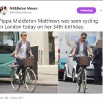 Pippa Middleton Matthews was seen cycling in London today on her 34th birthday. Photo C TWITTER
