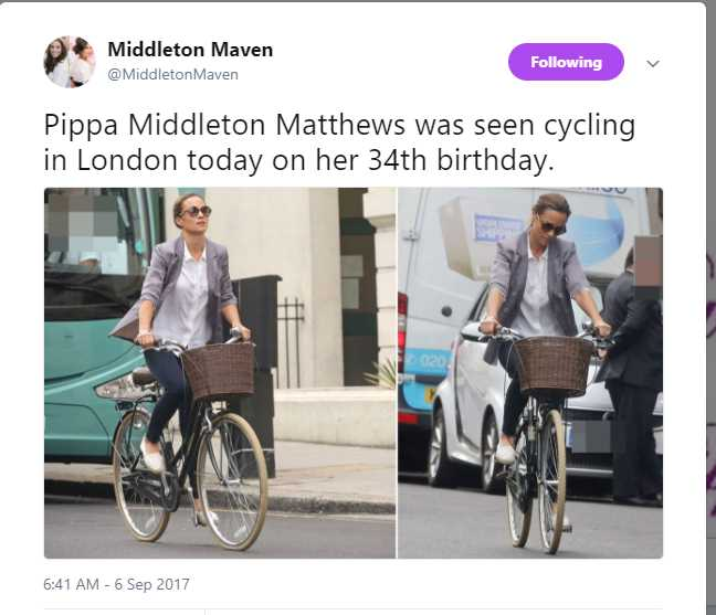 Pippa Middleton Matthews was seen cycling in London today on her 34th birthday. Photo (C) TWITTER
