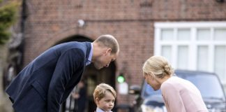Prince George arrives for his first day at school Photo PA