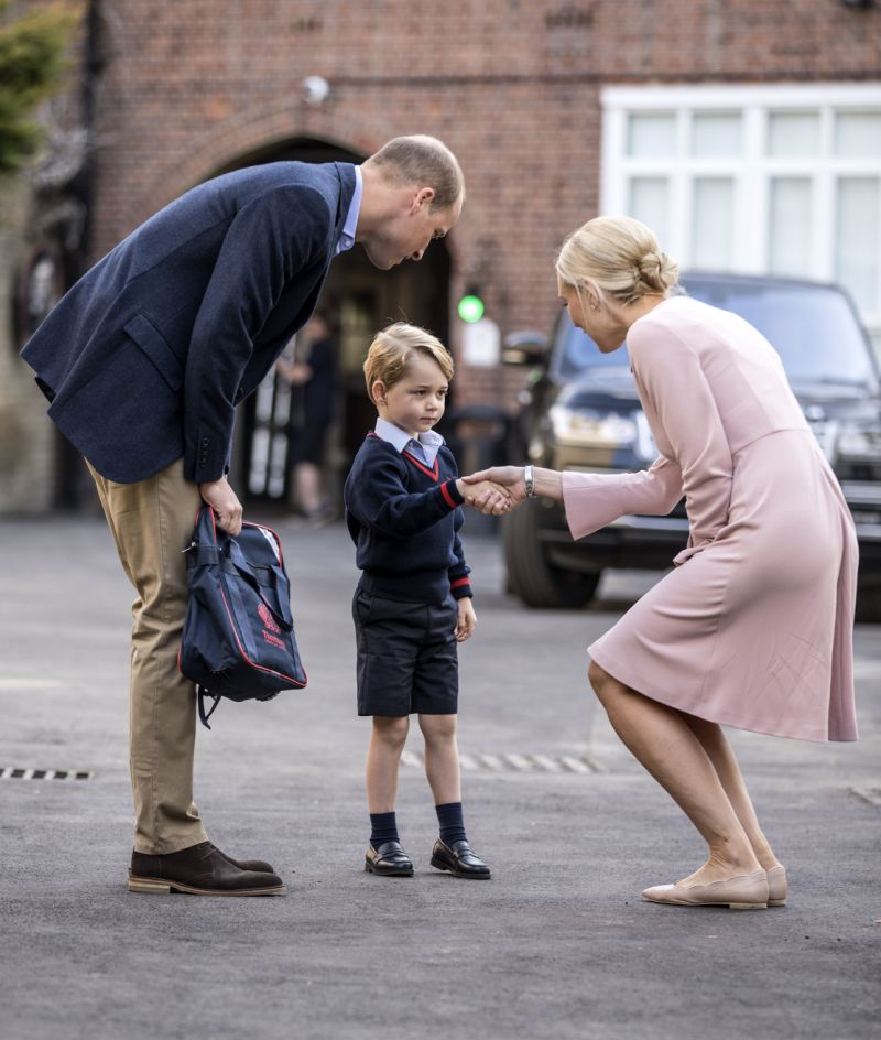 Prince George arrives for his first day at school [Photo PA]