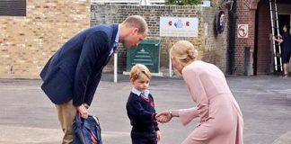 Prince George looked shy on his first day at school Photo C PA