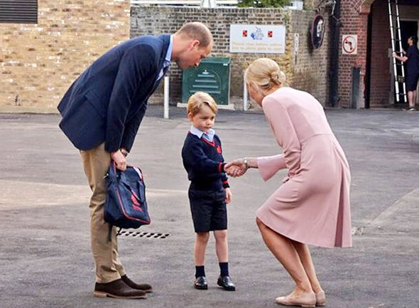 Prince George looked shy on his first day at school Photo (C) PA