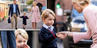 Prince George shyly shakes the hand of his headteacher on his first day at school Photo C PA GETTY