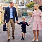Prince George was joined on the school run by his dad William Photo C PA