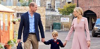 Prince George was joined on the school run by his dad William Photo (C) PA