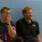 Prince Harry and Invictus Games veteran Charlie Walker watch Team UK train Photo C GETTY
