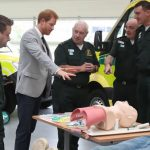 Prince Harry meets ambulace crews at Ballymena Northern Division HQ and Ambulance Station Photo C PA
