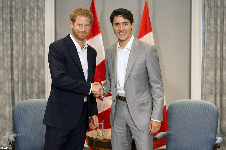 Prince Harry meets with Canadian Prime Minister Justin Trudeau in Toronto on Saturday, September 23