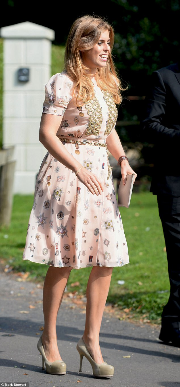 Princess Beatrice looked elegant in pink as she arrived at the wedding of her aunt Eliza Ferguson on Saturday