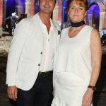 Sarah Ferguson wore a sleeveless white dress and a black choker at Celebrity Fight Night in Rome on Sunday night