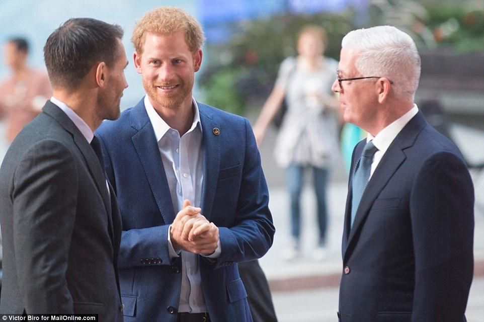 Smiling and relaxed Prince Harry arrived for the first engagement he is holding in Toronto ahead of his Invictus Games. His girlfriend Meghan Markle is expected to attend