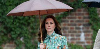 The Duchess Kate wore a green poppy print Prada dress to the Diana memorial Photo C GETTY