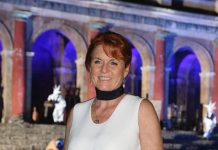 The Duchess of York beamed as she happily posed for the cameras in the Italian capital