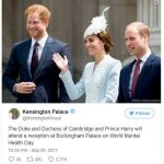 The Duke and Duchess of Cambridge and Prince Harry will attend a reception at Buckingham Palace on World Mental Health Day. Photo C TWITTER