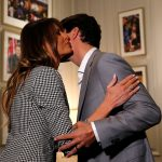 The First Lady gave Trudeau a warm hug and a kiss as they exchanged pleasantries backstage before the event kicked off