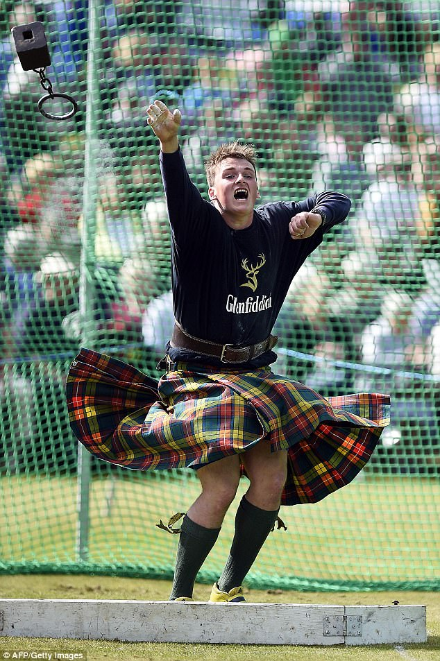 The Gathering, a highlight of the Highland Games calendar, happens on the first Saturday of September every year. Pictured A weight-throwing competitor