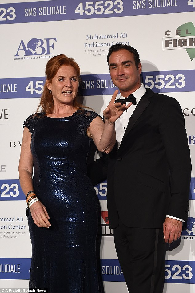 The pair posed for photos as they arrived at the event benefiting the Andrea Bocelli Foundation