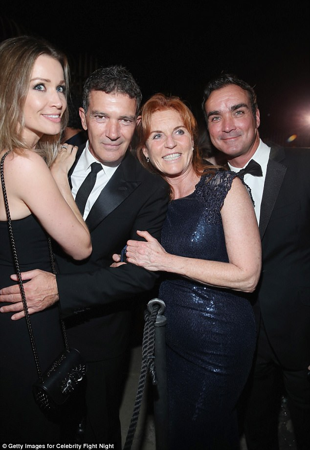 The pair were spotted alongside Antonio Banderas (pictured with girlfriend Nicole Kimpel) at the 2017 Celebrity Fight Night on Friday