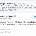 The reception on Tuesday 10 October will celebrate the contribution of those working in the mental health sector across the UK. Photo C KENSINGTON PALACE TWITTER