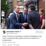 Today The Duke of Cambridge is visiting the Spitalfields Crypt Trust a charity that helps people recover from addiction homelessness. Photo C TWITTER