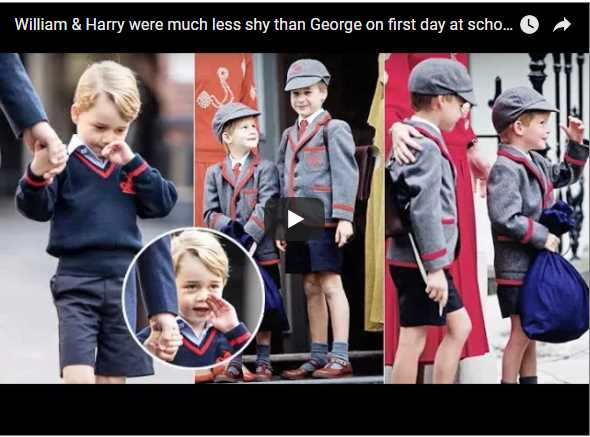William Harry were much less shy than George on first day at school