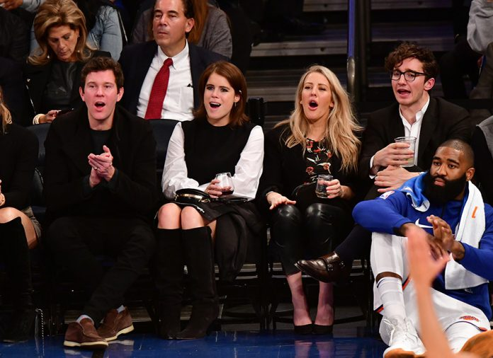 Jack Brooksbank, Princess Eugenie of York and Ellie Goulding attend the Brooklyn Nets Vs New York Knicks game at Madison Square Garden Photo (C) GETTY IMAGES