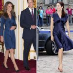 A Royal engagement Kate choose this classic navy wrap dress for her engagement photo call which matches Marys satin dress Photo C REX