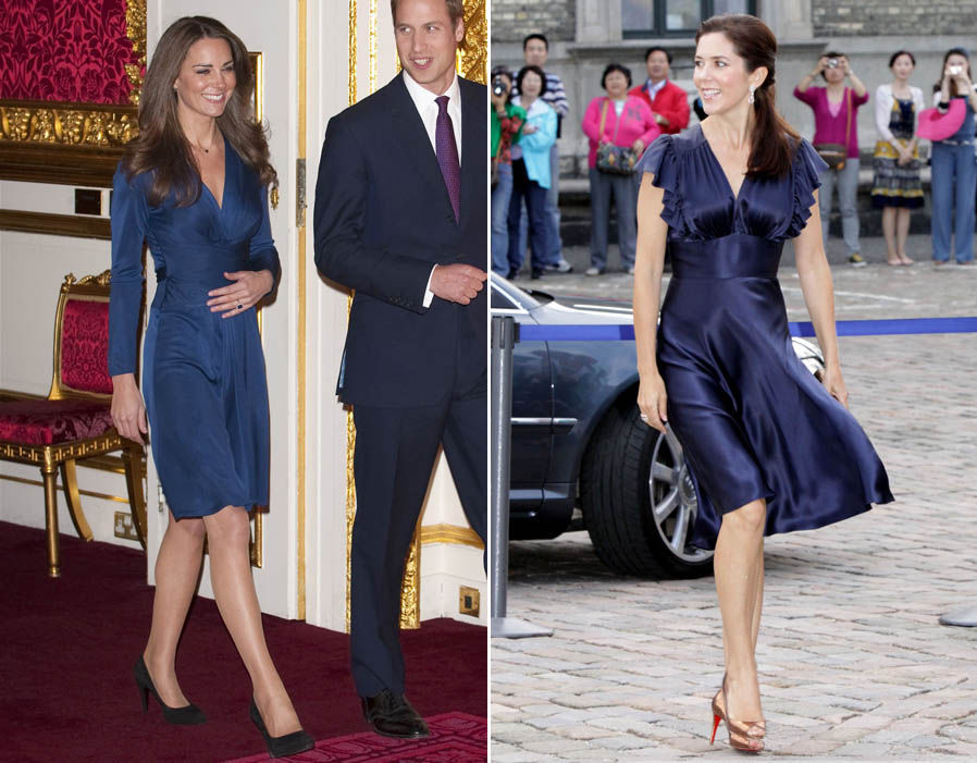 A Royal engagement Kate choose this classic navy wrap dress for her engagement photo call which matches Mary's satin dress Photo (C) REX