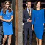 Both Kate and Mary dress their figure hugging blue dresses with and circular pendant Photo C REX