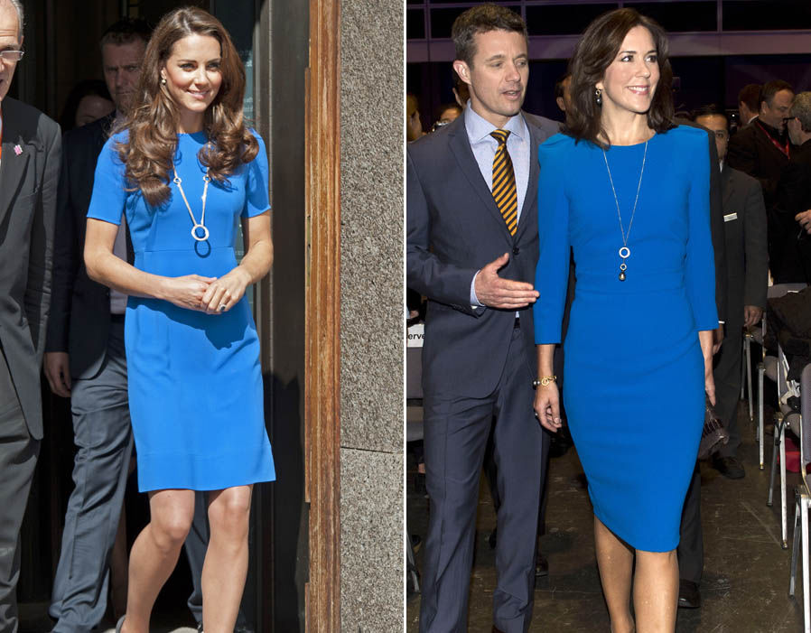 Both Kate and Mary dress their figure-hugging blue dresses with and circular pendant Photo (C) REX