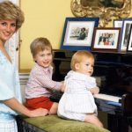 Diana Princess of Wales with her sons Prince William and Prince Harry at the piano in Kensington Palace Getty