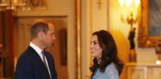 Duchess Kate looked stunning in a blue lace Temperley dress Photo (C) GETTY IMAGES