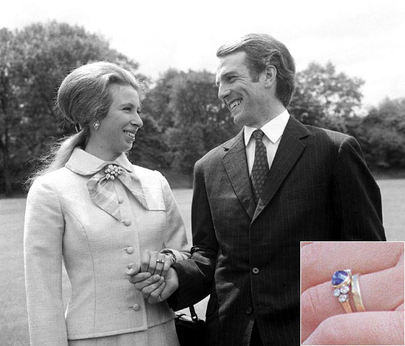 For her marriage to Captain Mark Phillips, Princess Anne chose a sapphire and diamond engagement ring Photo (C) GETTY