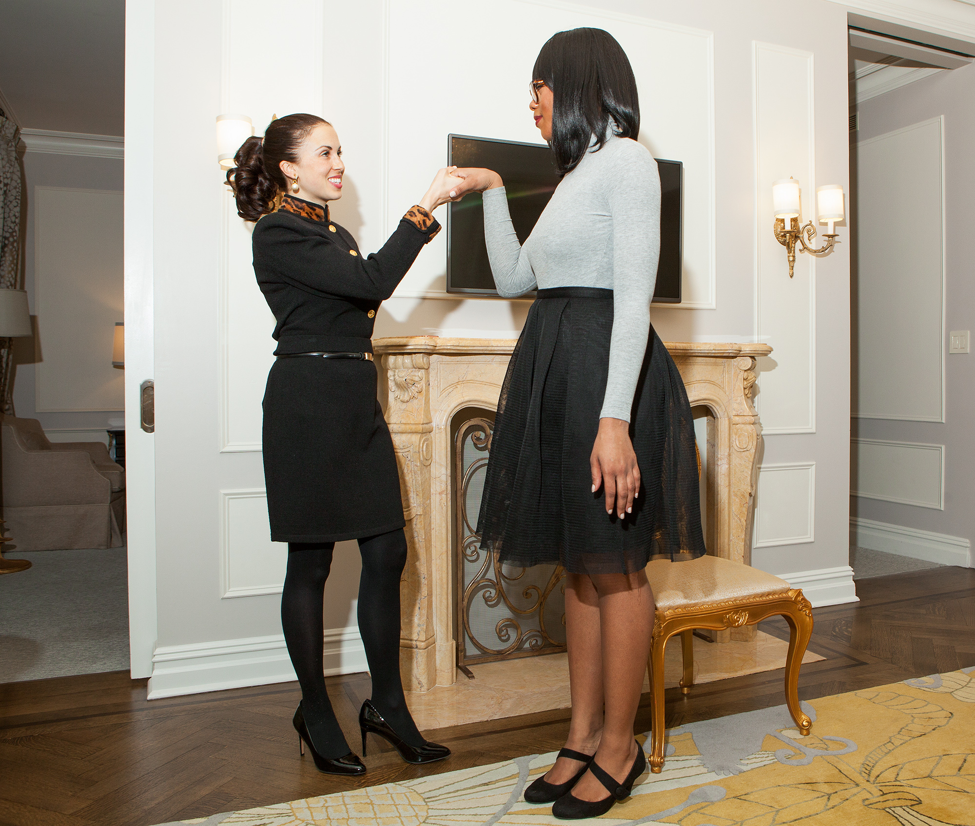 People com editor Char Adams Royal Etiquette training at the Plaza Hotel in New York City on Jan 17, 2017. Photo (C) GETTY